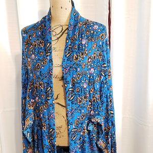 Society Amuse Tops - Society Amuse Floral Blue Pink Long Kimono